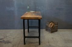 Industrial Vintage Cast Iron Maple Table : 20th Century Vintage Industrial Modern50 Style