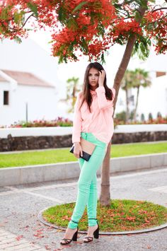 colored jeans with chiffon blouse