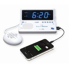 Rise n Shine Dual Alarm Clock with Bed Shaker and USB Charging Port - Alarm Clocks - MaxiAids
