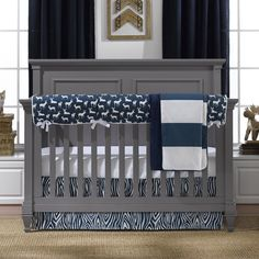 Navy Woodland Crib Bedding Set - It even has a chenille bed sheet! #NurseryIdeas