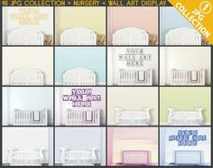 Room Stage #C01 Nursery Collection 16 JPG Scenes, Baby Crib, White crib, Premade Backgrounds, Styled images, bright colors pink blue creamy