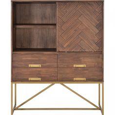 Hoge kast Nara | Trendhopper | interieur woonwinkels en webshop Kitchen Furniture, Home Furniture, Furniture Design, Corner Table, Nara, Decoration, Designer, Bookcase, New Homes