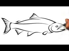 How to draw a salmon fish in a tribal tattoo design style. You will see me first draft out the fish, and then once I'm happy with it I then start to add trib. Fish Drawing Images, Fish Drawings, Tattoo Drawings, Drawing Ideas, Drawing Tutorials, Tribal Tattoos, Tribal Tattoo Designs, Native Art, Native American Art