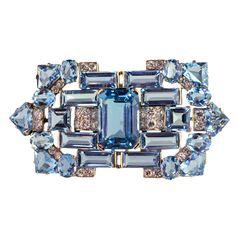 CARTIER Designed Platinum Art Deco  Aquamarine Diamond Brooch. Approxiamately 21.48 carats of Aquamarine & 1.98 of brilliant and single-cut diamonds.