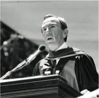Former Secretary of State Warren Christopher '49 addressing the graduates at the 1981 Stanford University commencement