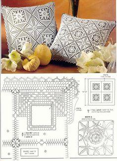 Crochet Pillow Patterns Part 12 - Beautiful Crochet Patterns and Knitting Patterns Crochet Cushion Cover, Crochet Pillow Pattern, Crochet Bedspread, Crochet Motifs, Crochet Cushions, Crochet Diagram, Crochet Chart, Crochet Squares, Crochet Doilies