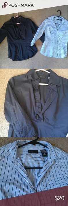 Xs New York and Company dress shirts 3/4 sleeve. Navy has a cute ruffle detail and buttons half way. Stripe full button. Collar. Button up New York & Company Tops Button Down Shirts