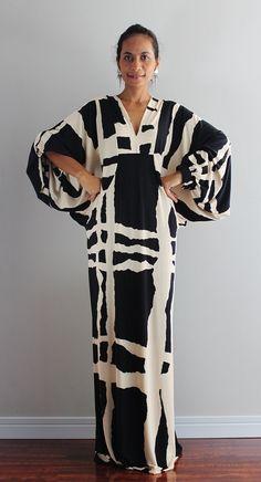 Black and Cream Maxi Dress Funky Evening Dress Elegant by Nuichan, $58.00