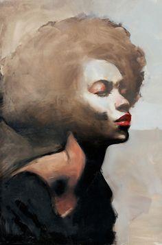 """Weight"" - Michael Carson (b. 1972), oil on panel {figurative art beautiful female head profile black woman face portrait painting #loveart}"