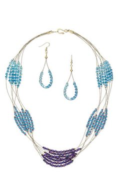 Multi-Strand Necklace and Earring Set with Seed Beads and Accu-Flex® Beading Wire - Fire Mountain Gems and Beads