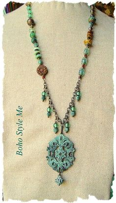 Bohemian Necklace Beaded Gemstone and Glass Assemblage