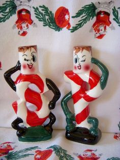 Vtg Japan CHRISTMAS Anthropomorphic Winking CANDY CANE People SALT & PEPPER SET