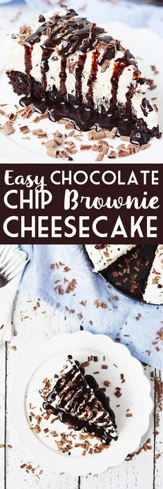 Easy Chocolate Chip Brownie Cheesecake -- Make this easy chocolate chip brownie cheesecake at your next party and you'll be the favorite. Brownie mix plus a simple cheesecake topping come together for a truly delightful dessert! | halfscratched.com #recipe #dessert #cheesecake
