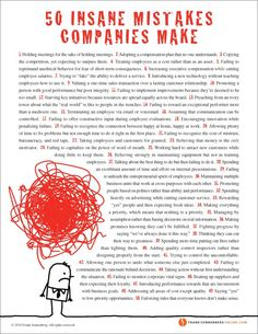50 Insane Mistakes Companies Make | Values to Live By | http://www.FrankSonnenbergOnline.com