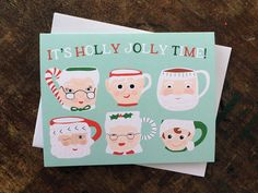 Cute Retro Holiday Santa Mugs Card - It's Holly Jolly Time - Elf Mugs Christmas Card