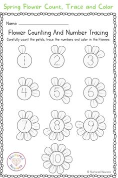 After some spring themed learning for your kids? Then why not grab this flower math worksheet? This kindergarten worksheet is a great way for your little learners to practice their counting and number formation - and when they're done they get to color in the flowers! Grab the printable sheets over at Nurtured Neurons! #springlearning #springprintables #springworksheets #kindergartenworksheets #kindergartenlearning #numbertracing #tracingsheets Kindergarten Learning, Preschool Learning Activities, Preschool Activities, Kindergarten Math Worksheets, Worksheets For Kids, Number Formation, Math For Kids, Counting, Ideas