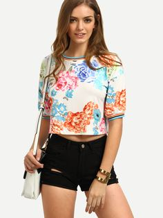 Shop Multicolor Floral Short Sleeve Crop T-shirt online. SheIn offers Multicolor Floral Short Sleeve Crop T-shirt & more to fit your fashionable needs.