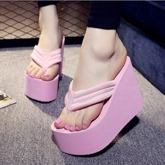5a798c9a572ce4 Women Sexy High Heels Flip Flops Slippers Wedge Platform Beach Shoes  Platform Wedge