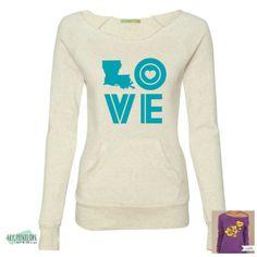 #LOVE Sweatshirt in Teal. #Louisiana
