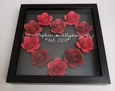 Flower Shadow Box, Diy Shadow Box, Shadow Box Frames, Personalized Valentine's Day Gifts, Do It Yourself Home, Valentine Day Crafts, Paper Flowers, Real Flowers, Altered Tins