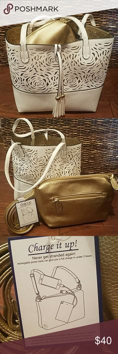NWT Ladies Imoshion Bag in a Bag/ Crossbody Inside Pretty white tote bag with gold crossbody purse inside that includes a micro usb charging power bank inside zipper pouch in crossbody purse. Charged power bank can give one full charge. The tote bag is gold inside and is reversible. Charge it up! Never get stranded without power. This makes a great gift!!! Bags Totes