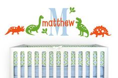 DINOSAURS Wall Decal, Boys dino vinyl stickers, Nursery name art decor Dinosaur Wall Decals, Dinosaur Nursery, Kids Wall Decals, Nursery Wall Decals, Vinyl Wall Stickers, Room Themes, Nursery Themes, Nursery Ideas, Nursery Name Art