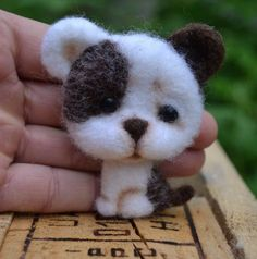 Neede Felted Brooch Dog Red Stuffed Handmade Artist Wool Miniature Animals 3in #Unbranded