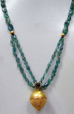 vintage antique tribal gold emerald necklace by TRIBALEXPORT, $999.00