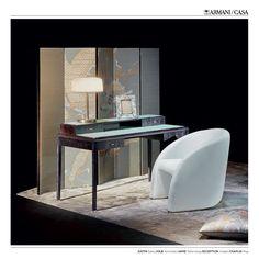 Some products of Armani/Casa. Desk Justin, armchair Julie, table lamp Jaime, screen Exception, rug Chaplin. #armanicasa #armani #casa #furniture #lighting #desk #armchair #lamp #screen #rug