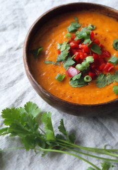 Zoete aardappel paprika soep