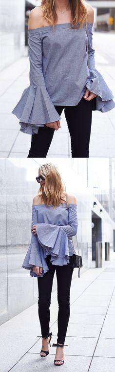 Dramatic Gingham Off-shoulder Top Fashion 2017, Fashion Outfits, Womens Fashion, Fashion Trends, Fashion Details, Street Fashion, Fashion Inspiration, Vintage Tops, Spring Summer Fashion