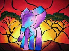 Oil Pastel Stained Glass Design - Conway High School Art Project