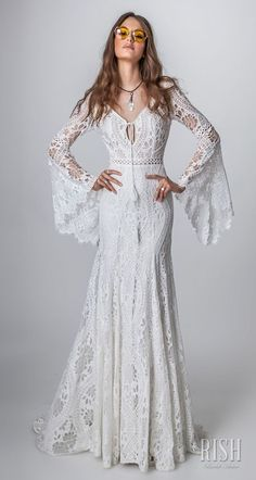 "Rish Bridal 2018 ""Sun Dance"" Collection — Boho Chic Wedding Dresses Worth Swooning Over Hochzeitskleid 2019 Hochzeitskleid 2019 Rish bridal sun dance 2018 long bell sleeves v neck full embellishment bohemian wedding dress Hochzeitskleid 2019 Boho Chic Wedding Dress, Bohemian Wedding Dresses, Boho Dress, Lace Dress, Trendy Wedding, Bohemian Weddings, Lace Bodice, Wedding Summer, Indian Weddings"
