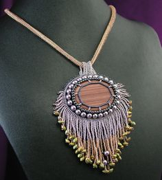 Hickoryite Beaded Pendant Lavender Hemalyke by StudioJoiedeVivre