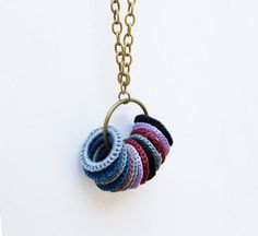 Crochet necklace / bohemian brass necklace / by laviniasboutique