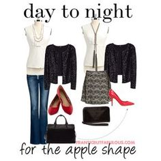 """Day to night for the apple shape"" by franticbutfabulous on Polyvore  #UndertheGunnAlternatingLooks"