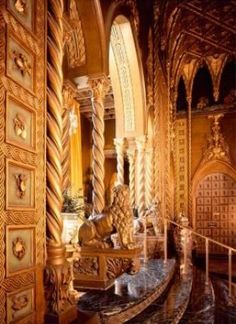 The east wall of the living room in the Mar-a-Lago club.