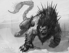 Manticore Concept Art - God of War: Ascension Art Gallery Greek Creatures, Greek Mythological Creatures, Fantasy Creatures, Mythical Creatures, Creature Concept Art, Creature Design, Fantasy Comics, Fantasy Art, Lion Sketch