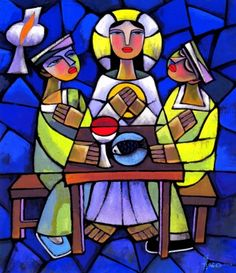 Amazing religious art by Chinese artist He Qi. Glass Wall Art, Stained Glass Art, Road To Emmaus, Art Through The Ages, Sacred Art, Christian Art, Christian Symbols, Religious Art, Madonna