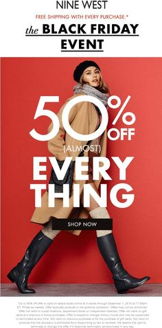 Pinned November 25th: 50% off almost everything at Nine #West ditto online #coupon via The #Coupons App