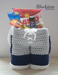 Football Pants Gift Basket crocheted by Blackstone Designs
