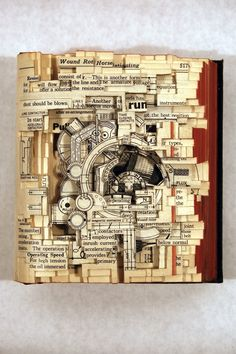 Brian Dettmer.  Using knives, tweezers and surgical tools, Brian Dettmer carves one page at a time. Nothing inside the out-of-date encyclopedias, medical journals, illustration books, or dictionaries is relocated or implanted, only removed.    Dettmer manipulates the pages and spines to form the shape of his sculptures. He also folds, bends, rolls, and stacks multiple books to create completely original sculptural forms.