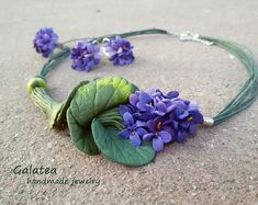 Spring Woodland jewelry set Wild violets jewelry Nature Inspired Forestt jewelry for Mom Spring jewelry gift for Bridesmajd Forest wedding Boho Jewelry, Gemstone Jewelry, Jewelry Gifts, Flower Jewelry, Statement Jewelry, Floral Necklace, Forest Wedding, Beautiful Gift Boxes, Bridesmaid Gifts