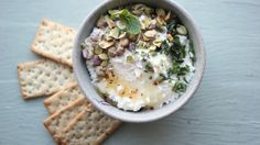 Date Night Feta Dip with Pistachios, Chili Honey and Mint