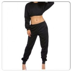 Sexy Black 2 Piece Sweatsuit  Item Description: Sexy sweat suit with leather ankle bands. Model is wearing a small. This item is custom made and may take up to 3 weeks to ship  Check out new arrivals at www.Facebook.com/ZoleesFashionBoutique  Payment Policy: Only PayPal is Accepted    ...