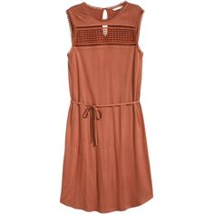 H&M Sleeveless jersey dress ($14) ❤ liked on Polyvore featuring dresses, vestidos, rust, rust dress, jersey dress, sleeveless dress, tie belt and h&m