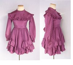 Vintage Fuchsia Gothic Lolita Cupcake 3 Tiered Ruffle Baby Doll Tea Party Dress with Bib, Heart Pattern & Buttons by TheThriftyBuddah, $20.00
