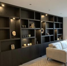 Built In Shelves Living Room, Living Room Wall Units, Home Living Room, Living Room Designs, Built In Furniture, Home Decor Furniture, Bedroom Plants Decor, Modern Home Offices, Happy New Home