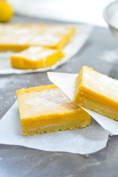Whip up a batch of Scrumptious Mango Lemon Bars. This healthy dessert recipe is sweet, comforting and bursting with a strong fruity flavor in every bite. Mango Dessert Recipes, Lemon Desserts, Fruit Recipes, Just Desserts, Sweet Recipes, Baking Recipes, Delicious Desserts, Yummy Food, Lime Recipes