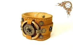 Steampunk karkötő Steampunk, Cuff Bracelets, Leather, Jewelry, Jewlery, Bijoux, Schmuck, Steam Punk, Jewerly
